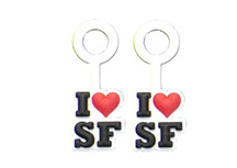 red heart, black I love SF text, roxie san fran, BracketEars
